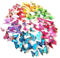 Qualified Wall Stickers12pcs Decal Wall Stickers Home Decorations 3D Butterfly Rainbow PVC Wallpaper blue 12pcs/lot