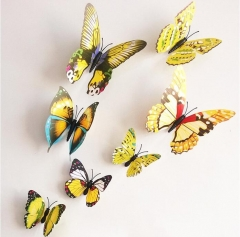 Qualified Wall Stickers12pcs Decal Wall Stickers Home Decorations 3D Butterfly Rainbow PVC Wallpaper yellow 12pcs/lot