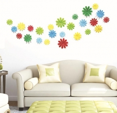 12pcs/Lot Creative 3D PVC Flowers/snowflake Wall Stickers Acrylic Wall Decals TV Wall Stickers blue 12pcs/lot