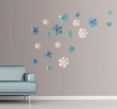 12pcs/Lot Creative 3D PVC Flowers/snowflake Wall Stickers Acrylic Wall Decals TV Wall Stickers dark blue snow 12pcs/lot