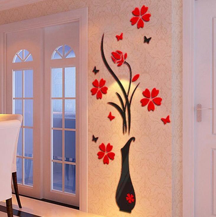 Colorful Flower Vase 3D Acrylic Decoration Wall Sticker DIY Art