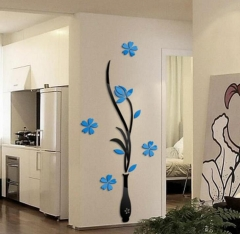 Colorful Flower Vase 3D Acrylic Decoration Wall Sticker DIY Art Wall Poster Home Decor Wallstick blue flower black bottle XXL