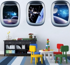 Outer Space 3D Wall Sticker Cosmic Galaxy Wall Decor for Kids Room Kindergarten Sky Ceiling Vinyl style 1 as picture