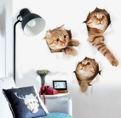 Cat Vivid Smashed Switch Wall Sticker Bathroom Toilet Kicthen Decorative Decals Poster PVC Mural Art FX12 as picture
