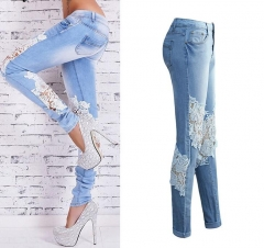 Plus Size Lace Spliced Low-Waist Skinny Jeans Women Streetwear Fashion Jeans Long Pencil Pants blue s