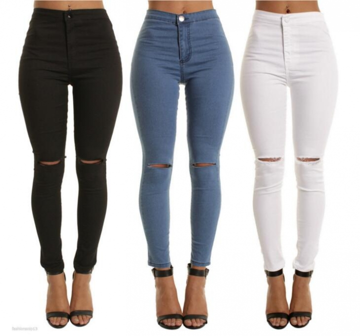 7528c35dd 2018 Skinny Jeans Women Denim Pants Holes Destroyed Knee Pencil Pants  Casual Trousers Ripped Jeans blue