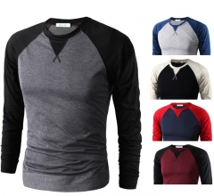 2018 men's T shirt 5 Basic colors Long Sleeve Slim T-shirt young men color tee shirt 2XL size O neck black M
