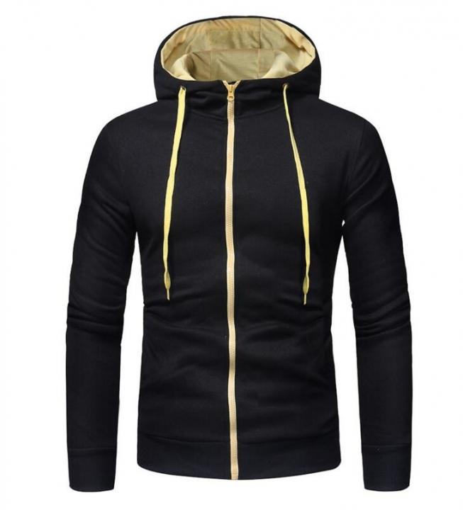 Winter Hoodie Male Cardigan Long sleeve hoodies men Zipper Sweatshirt Hooded Plus size Coat Jacket black l