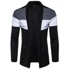 2018 Men long fashion knitting sweater slim windbreaker business high-quality cotton Leisure jacket black S