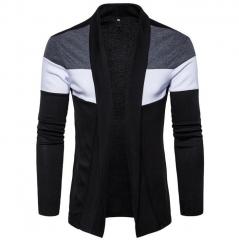 2018 Men long fashion knitting sweater slim windbreaker business high-quality cotton Leisure jacket black S