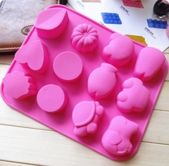 1pc Round Shape 12 Holes Mould Silicone Party Cake Cookie Candy Chocolate Maker Baking Tool Tray pink 2 as picture