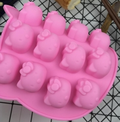 5 Shape 3D Silicone Fruit Chocolate Mold Candy Cookie Baking Fondant Mold Cake Decoration Tools Cartoon cat as picture