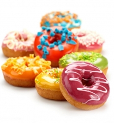 Donuts Mold Silicone Round Shape Doughnuts Baking Jelly Fondant Cake Pastry Tool Bagels Muffin orange 24.3*16.5*2.5cm