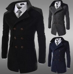 Mens Trench Coat 2018 New Fashion Designer  Autumn Winter Double-breasted Windproof Slim Trench Coat black m
