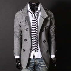 New Brand Winter Men's Wool Jacket Casual Coat Mens Thicken Jackets Men Overcoat Black/Gray M-XXXL black m