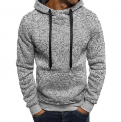 Hoodies Men  Male Long Sleeve Solid Color Hooded Sweatshirt Tracksuit Sweat Coat Casual Sportswear light gray m