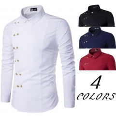 Men Shirts Brand2018 New Mens Dress Shirts Long Sleeve Slim Casual Social Male Clothes Chemise Homme white m