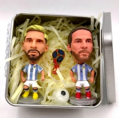 Soccerwe England Soccer Stars Lovely Action Figures Toys Fans Collection Football Dolls Gift Rooney Messi + dibala + badges 8*8*4.5cm