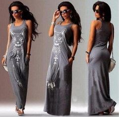 2018 Women Long Maxi Dress Casual Cat Print Boho Beach Dress Sexy Evening Party Bodycon Dress black s