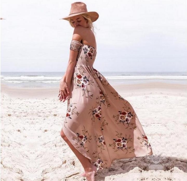 9c588c768678 Boho style long dress women Off shoulder beach summer dresses Floral print  Vintage dress vestidos khaki