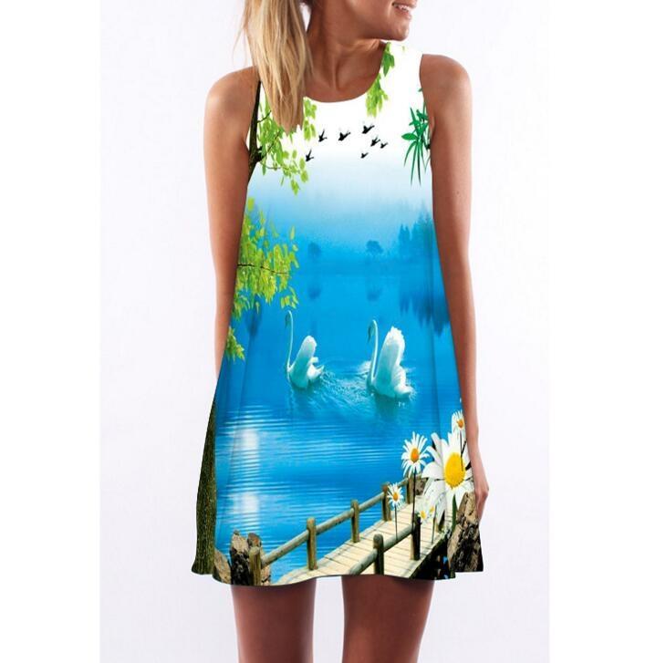 Dresses 2018 2xl Summer Dress Floral Print Chiffon Dress Half Sleeve Boho Style Short Beach Dress Sundress Casual Shift Dresses Vestido