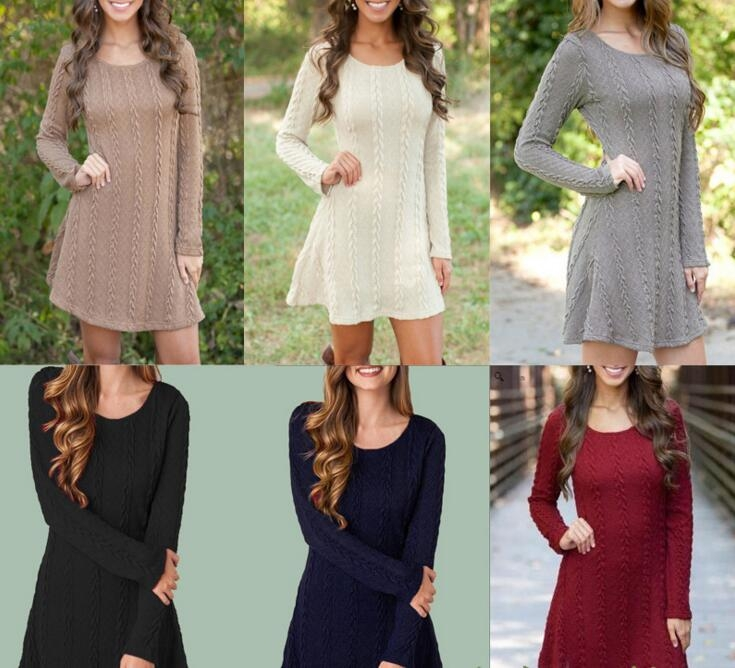 Women Causal Plus Size S-5XL Short Sweater Dress Female Autumn Winter White  Long Sleeve Loose knitted Sweaters Dresses ee7800290