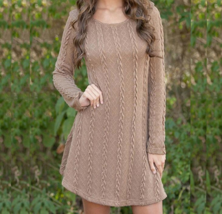 698e1734338b Women Causal Plus Size Short Sweater Dress Autumn Winter Long Sleeve Loose  knitted Sweaters Dresses brown l