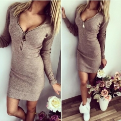 2018 Women Mini Dresses Sexy Stretch Zipper Bodycon Dress Sexy Long Sleeve V-neck Knit Dress Party gray s
