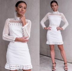 Simplee Elegant hollow out lace dress women Half sleeve summer style white dress 2018 short casual style 1 s