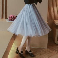 2018 Spring Fashion Womens Lace Princess Fairy Style Voile Tulle Skirt Bouffant Puffy Fashion Skirt black free size
