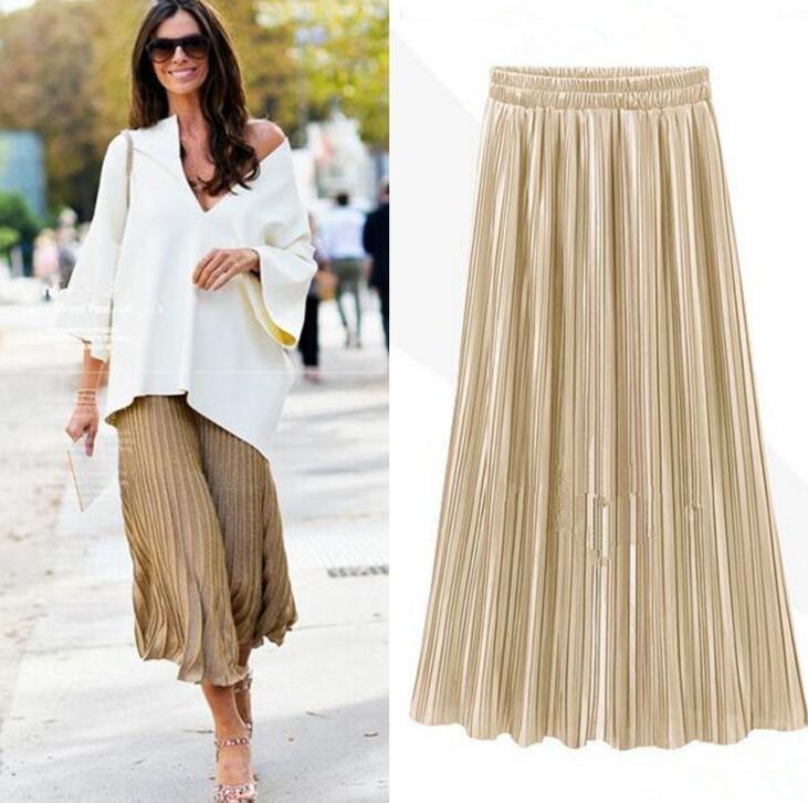 1c9fe6030d Silver Gold Pleated Skirt Womens Vintage High Waist Skirt 2018 Summer Long  Skirts New Fashion Metallic Skirt Female