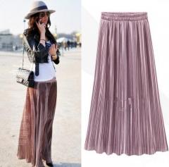 Pleated Skirt Womens Vintage High Waist Skirt 2018 Summer Long Skirts Fashion Metallic Skirt Female pink free size