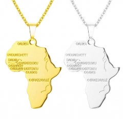 Africa Map Pendant Necklace for Women/Men Silver/Gold Ethiopian Jewelry African Maps Hiphop Item gold one size