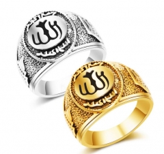 Hot Classics Retro Gold Silver Ring Muslim Allah Arabic Shahada Arabic God Messager Persian Plated gold 8#