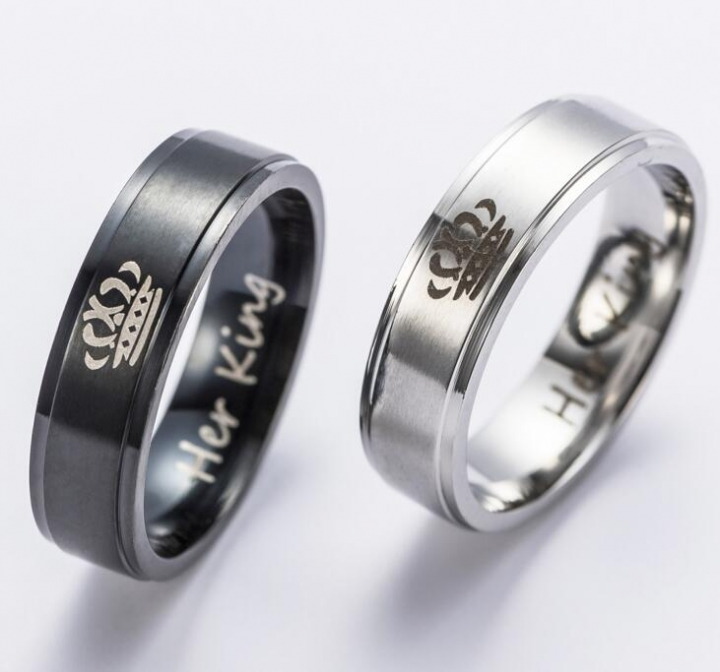 56f0e2d8ac 2018 New Fashion DIY Couple Jewelry Her King and His Queen Stainless Steel  Wedding Rings Women