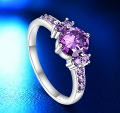 White Gold Color Rings For Women Purple AAA Zircon Jewelry Engagement Wedding Size 5 6 7 8 9 10 purple 7