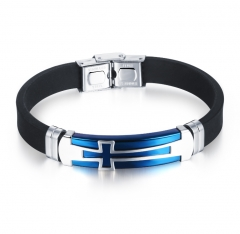 Fashion Men Jewelry Vintage Leather Bracelets Bangles Metal Cross Jesus Bracelet Adjustable Wax Cord blue as picture