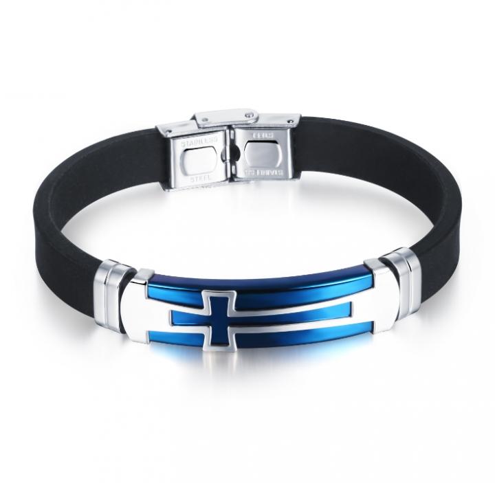 639ac0c5c2279 Fashion Men Jewelry Vintage Leather Bracelets Bangles Metal Cross Jesus  Bracelet Adjustable Wax Cord blue as picture