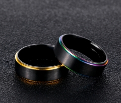 High Quality Titanium Stainless Steel Rings For Men Gold Black Blue Steel Color Smart US Size 7-11 Color edge 7#