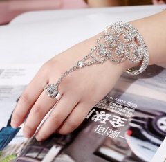 Fashion Chain Bracelet Drop Punk Plated Metal Hand Harness Chain Beads Slave Finger Ring Jewelry White diamond as picture