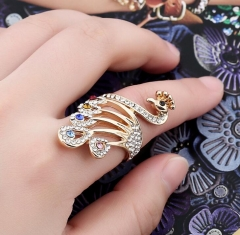 2018 New Vintage Retro Peacock Feather Unique Ring Angels For Women Antique gold-Color Top Quality gold 16#