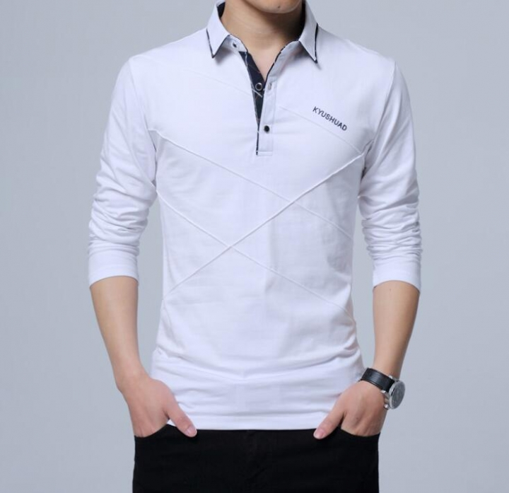 New Man Shirt Design | 2018 Fashion Men T Shirt Slim Fit Custom Crease Design Long Stylish