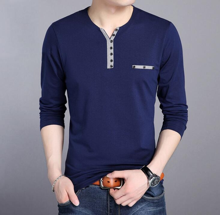 75c517d65a27 HOT SELL 2018 New Fashion Men Clothes Solid Color Long Sleeve Slim Fit Men  Cotton Casual T Shirts navy blue l: Product No: 381117. Item specifics:  Brand: