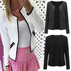 Autumn Women Lady Jackets Fashion Bomber Jacket Long Sleeve Coat Casual Collar Slim Fit Outerwear gray s