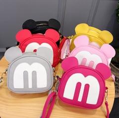 2018 New Mickey Backpack Pu Leather Female Mini Bag Sweet Bow Girls Backpacks School Shoulder bag black 18*15*7cm