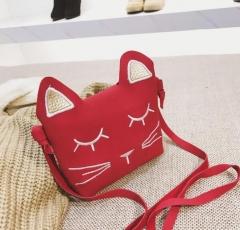 Mini Cute Cat Ear Shoulder Bag Kids Key Coin Purse Cartoon Lovely Messenger Bag girl's present black one size