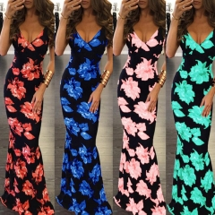Summer Maxi Dress Women Floral  V-Neck Sleeveless Spaghetti Strap Backless Side Split Long Dress blue s