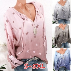 Womens Lace-Up Stars Printed Blouses Tops Casual Long Sleeve Shirts V Neck Tunic Blusas Loose light gray s