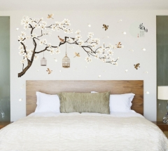60*90Cm 3D DIY Removable birds Tree Pvc Wall Decals/Adhesive Wall Stickers Mural Art Home Decor as picture 60*90CM