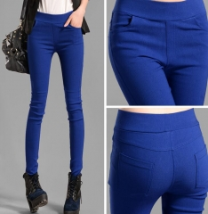 Women Candy Pants Pencil Trousers 2018 Spring Fall Stretch Pants For Women Slim Ladies Jean Trousers Sapphire blue 30